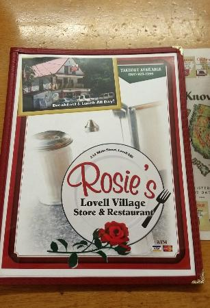Rosie's Lovell Village Store: Menu cover