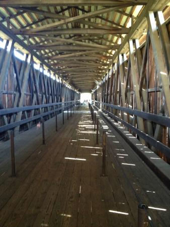 Stanislaus River Parks: Inside the covered bridge