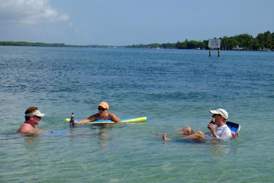 Jupiter, FL: Sand bar lounging, boat at anchor