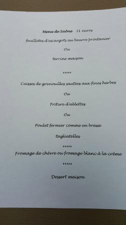 Excellent rural French menu at the restaurant at Jean de Saone
