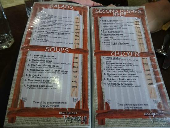 Venezia: menu with delicious soups
