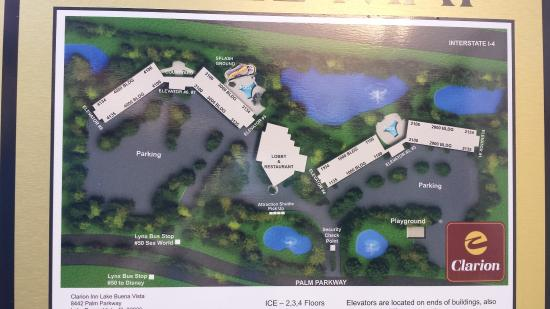 Clarion Inn Lake Buena Vista: Map of hotel grounds