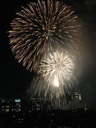 From room on 19th floor, view of 4th of July fireworks.