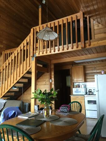 Point-No-Point Resort: Main room and stairs to loft -  Glacier Loft (Cabin A)