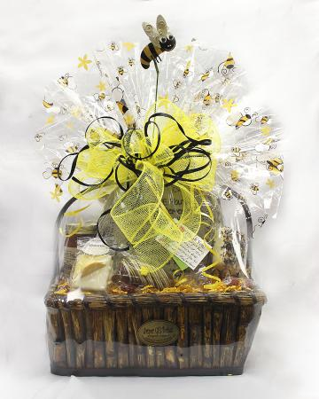 Bee Basket Gift Filled With Lots Of Popcorn Chocolates And Home