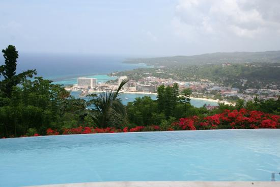 Rainforest Bobsled Jamaica at Mystic Mountain: View from the restaurant overlooking the infinity pool
