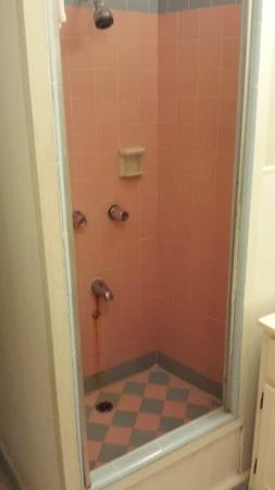 Polynesian Plaza: I can't believe anyone would shower in here. Look at the rust stain.