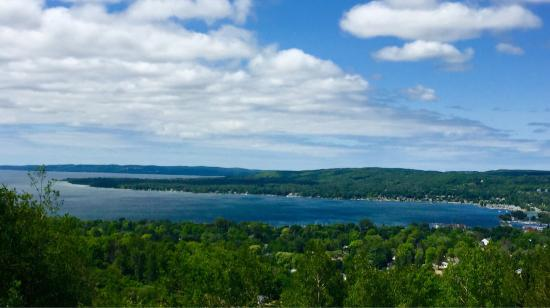 Boyne City, MI: View of Lake Charlevoix from the peak of Avalanche Preserve