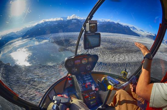 VSHelicopters Tours: Flying over the Columbia Glacier.