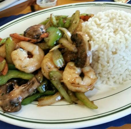 Trading Post Restaurant: Stir Fry Shrimp and BQ Ribs
