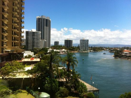 Waterways Luxury Apartments: Looking at the river from the balcony