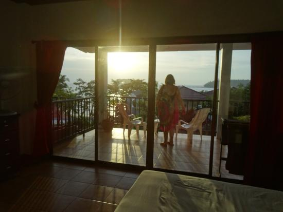 Two Chefs Inn: The view through our room to Kata Bay