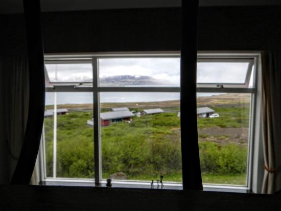 Hotel Glymur: view from our lofty bedroom