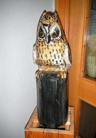 Hotel Glymur: exquisite, carved owl in main floor hallway