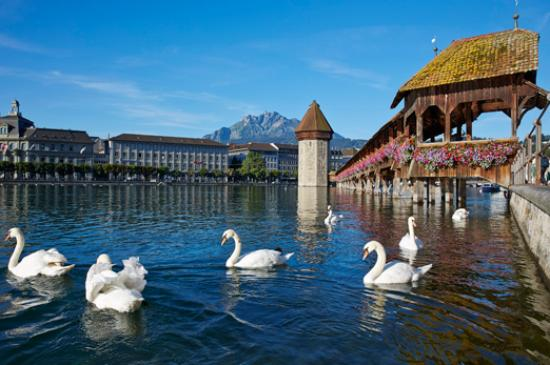 Luzern, Zwitserland: Chapel Bridge