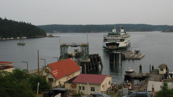 Orcas, WA: View from the balcony, overlooking the ferry dock.
