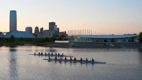 Rowers on the Oklahoma River in Oklahoma City