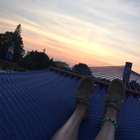 Rockport, ME: laying on the hammock in the pool area