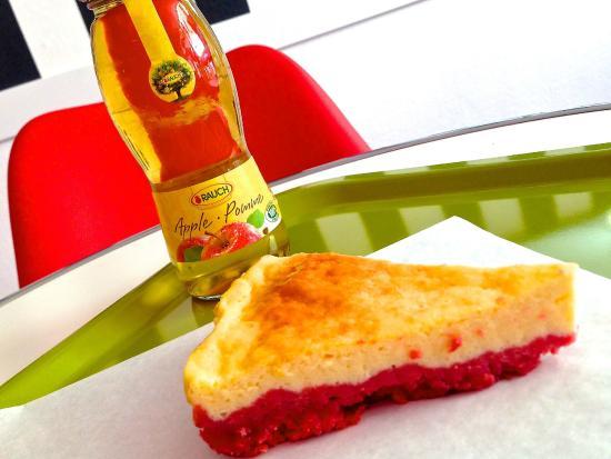 Envie d 39 une pause cheesecake la framboise fait maison et jus de pommes 100 pur jus - Jus de pomme maison ...
