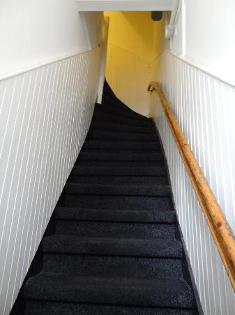 Sleep at Amy's: The steep staircase up to the room from street level
