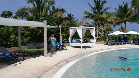 Catalonia Playa Maroma: Poolside beds are for the privilege & Poolside beds are for the privilege - Picture of Catalonia Playa ...