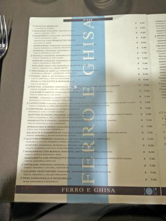 Carta de pizzas - Picture of Ferro & Ghisa, Rome - TripAdvisor