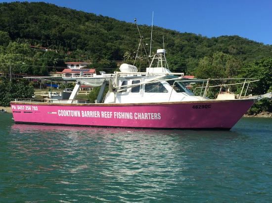 Cooktown Barrier Reef Charters - our Pink Boat on the Great Barrier Reef