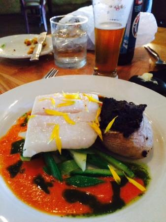 Sybaris: Olive oil poached halibut