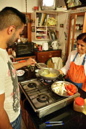 Sushma's Cooking Classes: The chefs at work...