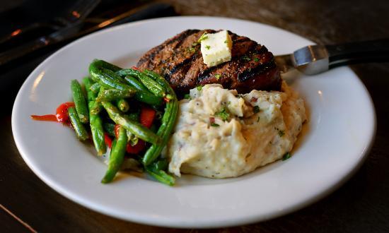 Main Street Tavern Broken Arrow: Sirloin steak with garlic mashed and sauteed veggies.
