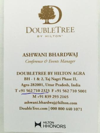 Business card given to me from reception staff