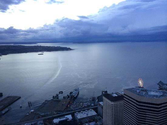 Looking out at West Seattle from the Sky View Observatory