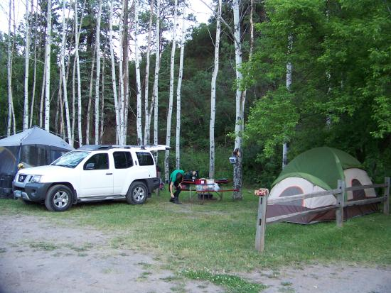 Ouray KOA: tent site by the pond