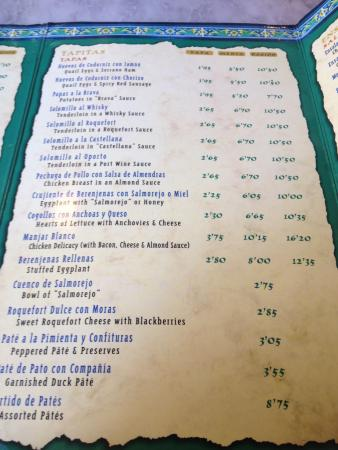 Carta de tapitas picture of los coloniales seville - Bar coloniales sevilla ...