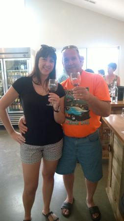 Stinson Vineyards: My husband and my daughter enjoying the wine!