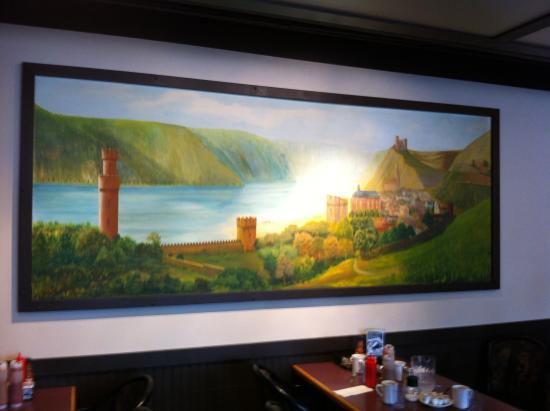 Barb and Ernie's Old Country Inn : old-style painted mural in the dining area