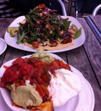 Chickpea Salad and veggie nachos