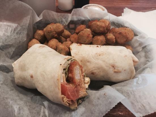 The Fried Turkey Sandwich Shop: Fried turkey wrap and fried okra