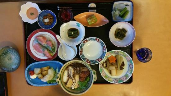 Mizusawa Onsen: One of the dinners - vegetarian (wifi available in dining room)