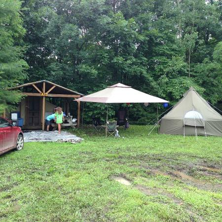 Our Cabin Tent Along With A Teepee Tent We Brought From