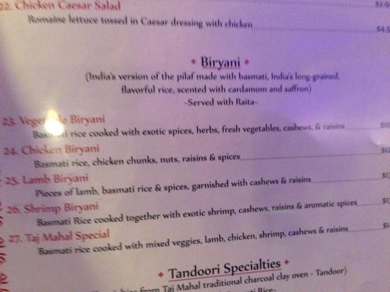 Taj Mahal Restaurant Menu Springfield Mo