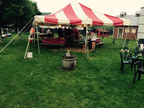 Barnyard Swing Miniature Golf: Big tent to cover all your guests.