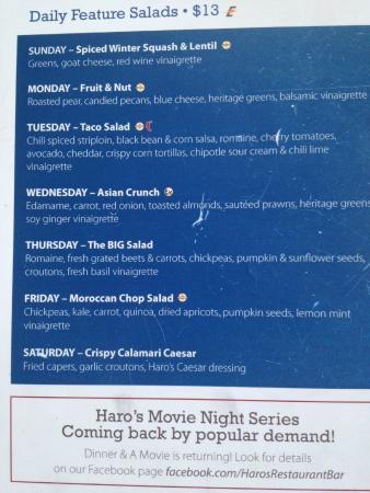 Haro's Rest. & Bar In Sidney Pier Hotel & Spa: Menu part 2
