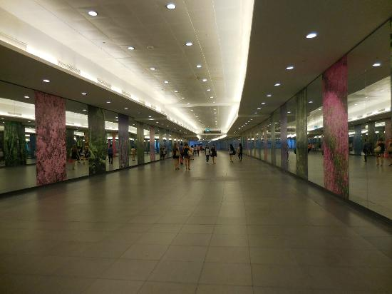 Underground walkway between platforms  Picture of Singapore Mass