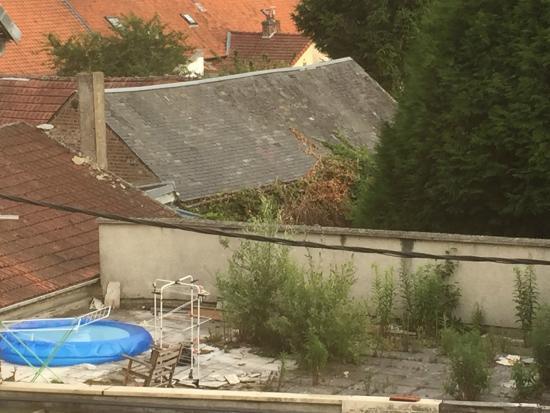 Hotel de la Paix: View of roof garden on pizza take - away opposite!