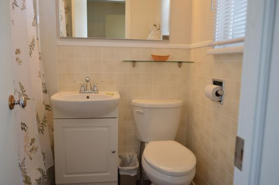 Pinewood Inn: Bathroom in room with double bed