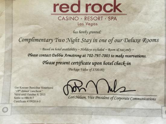Red Rock Casino Resort & Spa: Certificate that we discussed