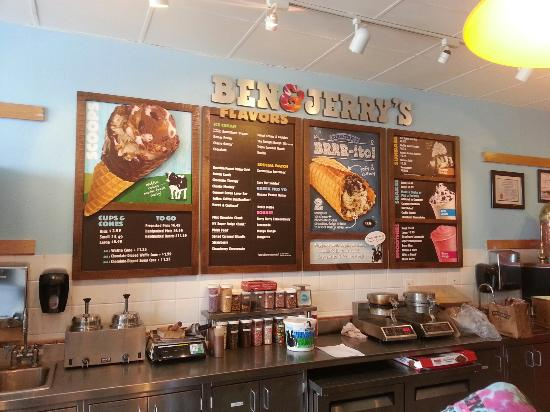 Ben & Jerry's: Menu on the wall