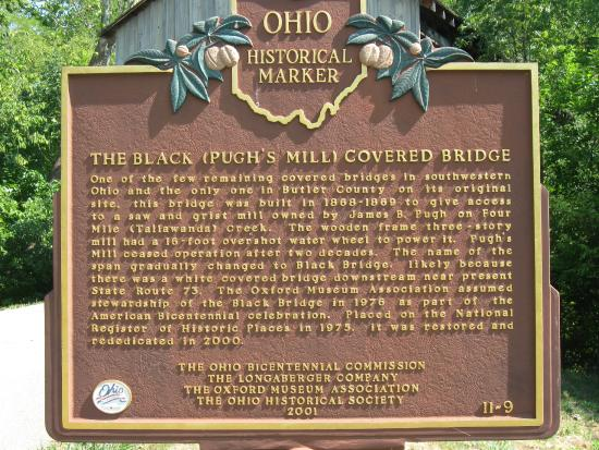 The Black Covered Bridge: Reverse side of Historical Marker