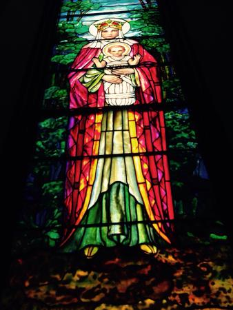Staunton, VA: Tiffany stained glass window which is signed by the artist.